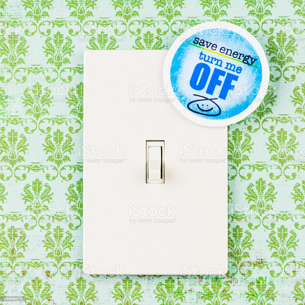 Save Energy: Turn Off Lights stock photo