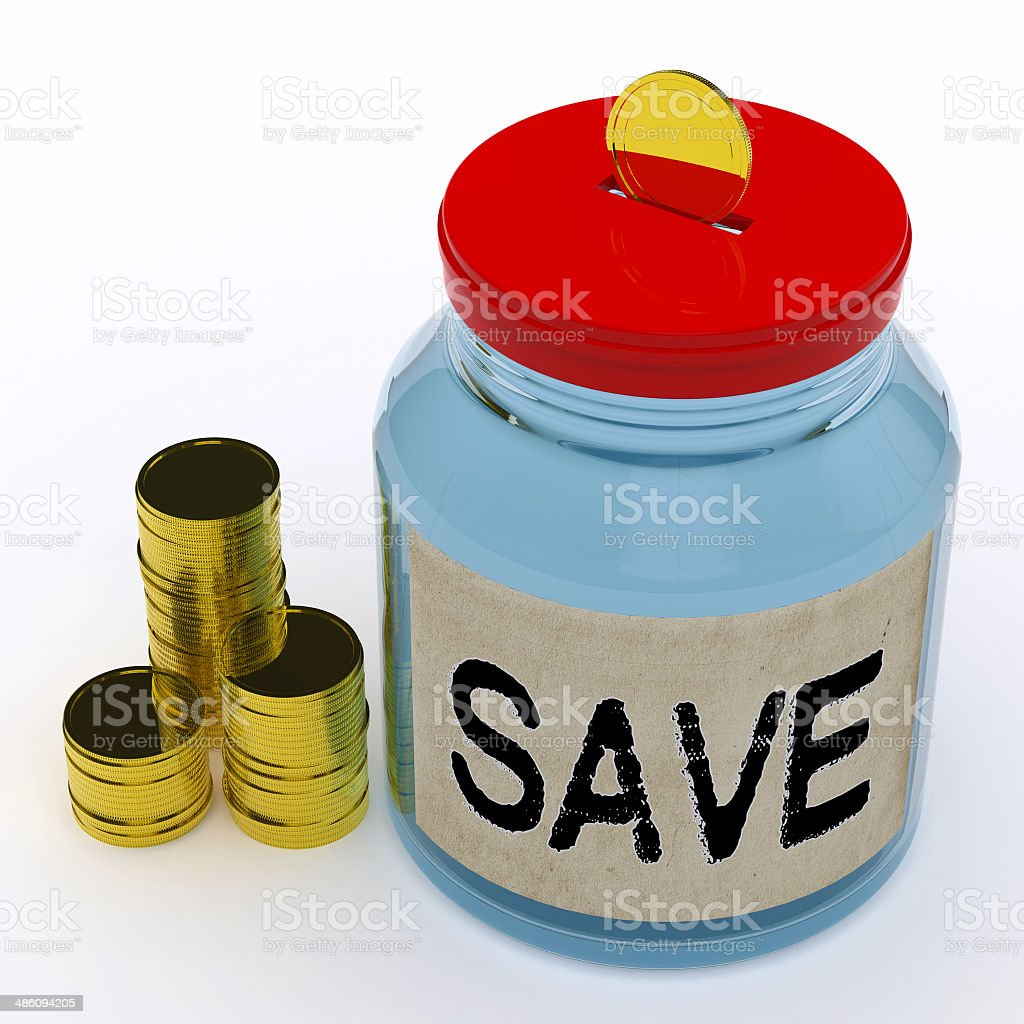 Save Jar Means Saving And Reserving Money royalty-free stock photo