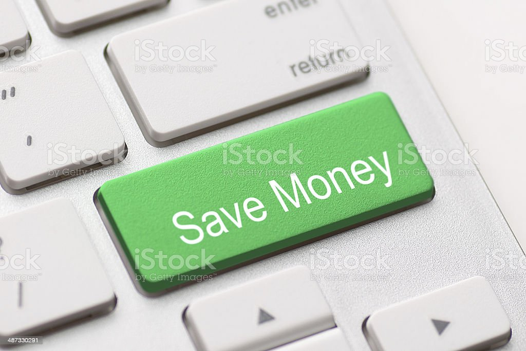 Save Money button key stock photo