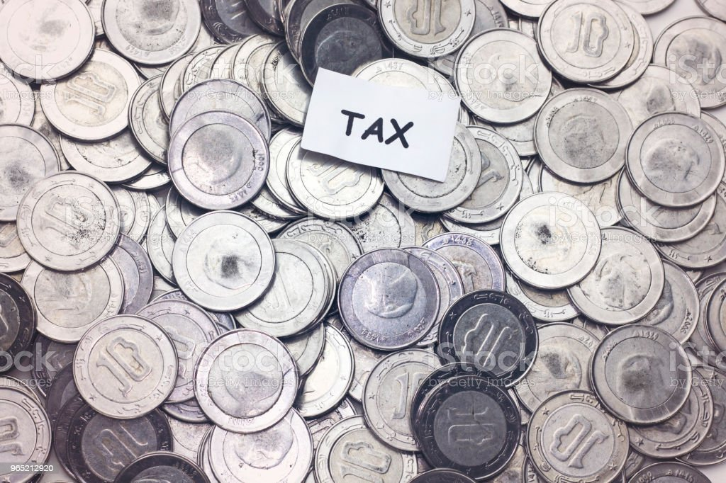 save money concept,tag tax  above algeria coin royalty-free stock photo