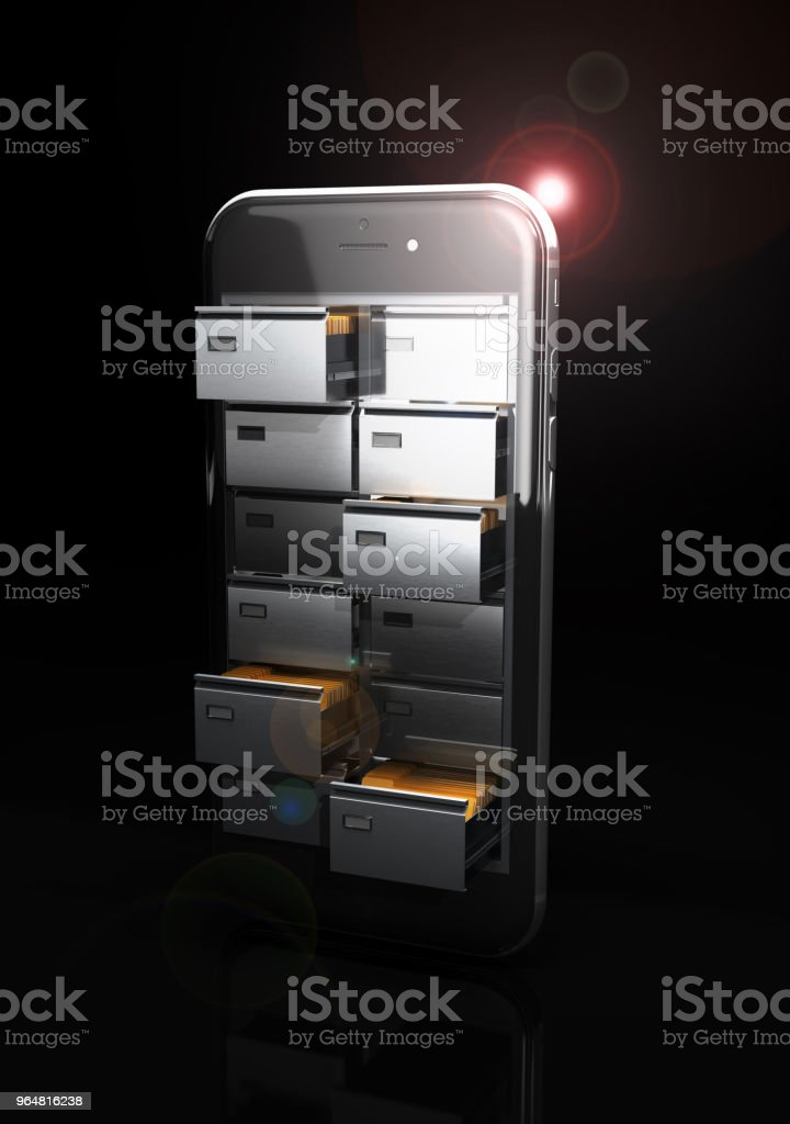Save of data concept. Cupboard with card files in the screen of the phone. 3d illustration royalty-free stock photo