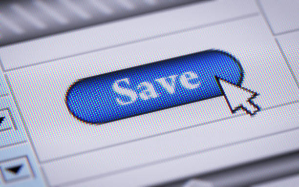Save Button in browser salvation stock pictures, royalty-free photos & images