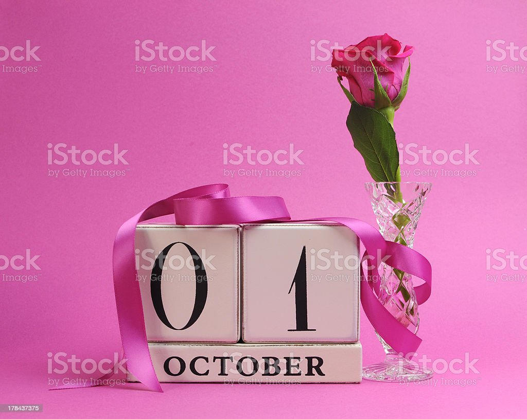 Save the date calendar for October 1, Pink Ribbon Day royalty-free stock photo
