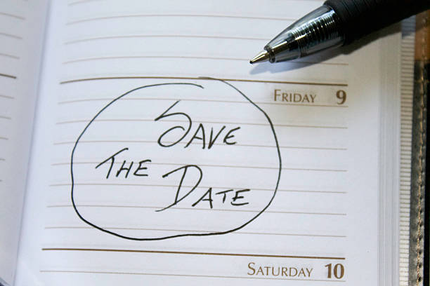 Save The Date Calendar Reminder Top View stock photo