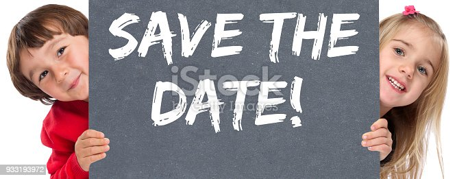 istock Save the date invitation message business information young children kids 933193972