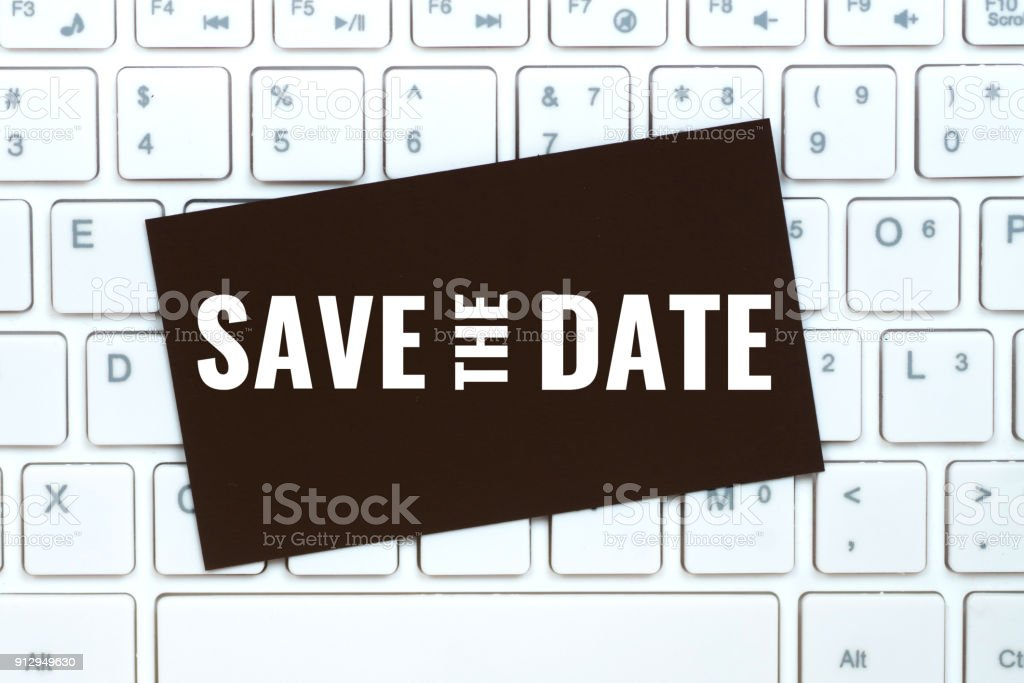 save the date on craft paper card stock photo