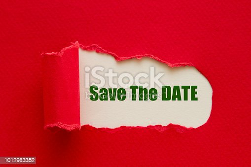 Save The Date written under torn paper.
