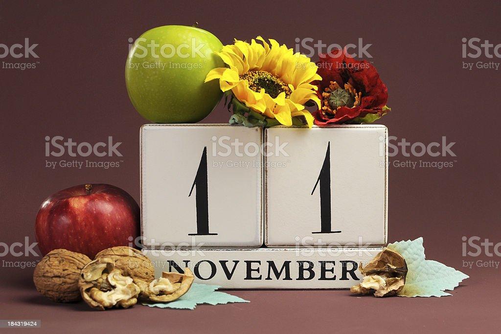 Save the Date seasonal individual calendar for November 11 royalty-free stock photo