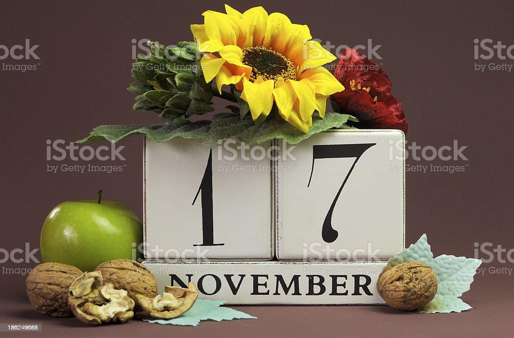 Save the Date seasonal individual calendar for November 17 royalty-free stock photo