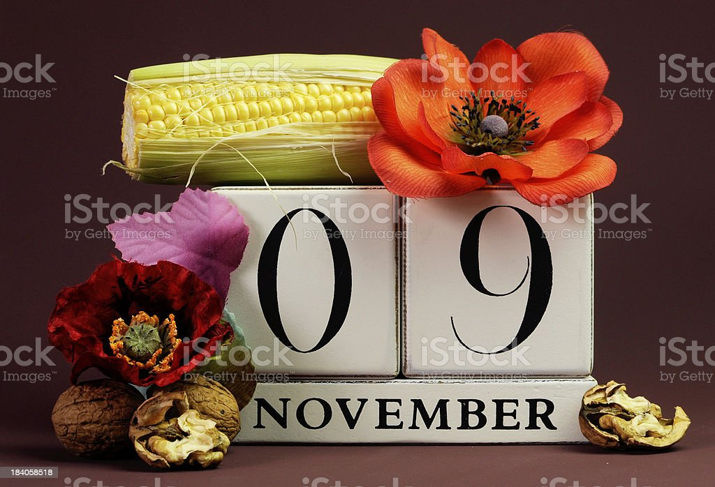 Save the Date seasonal individual calendar for November 9th with...