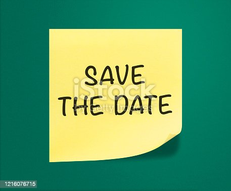 Save the date sticky Note on green background