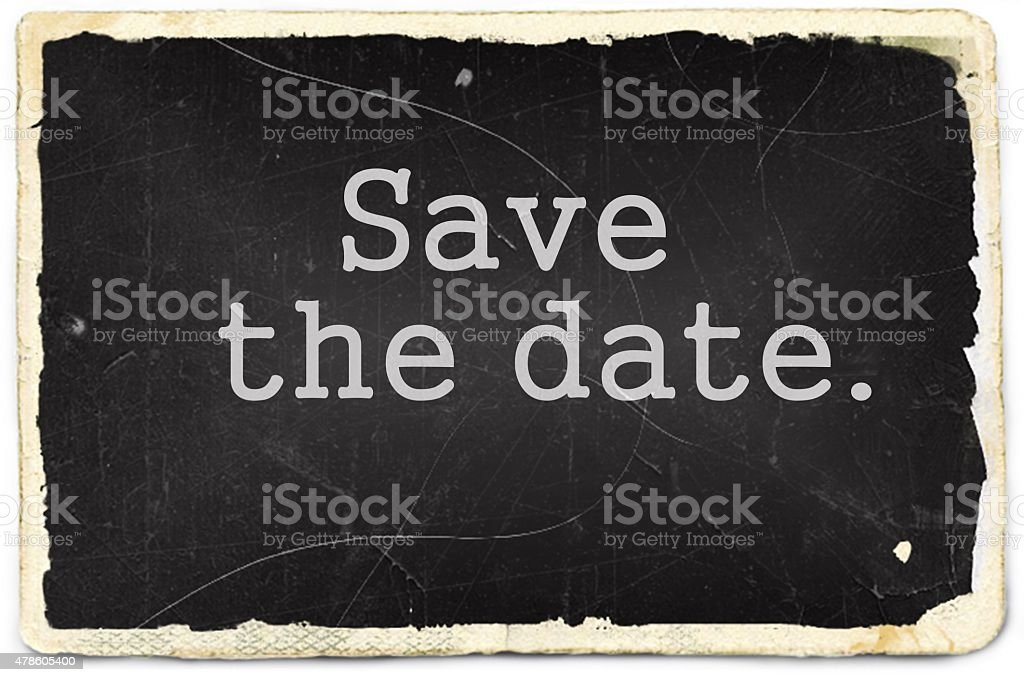 Save the date text written on old photo paper stock photo