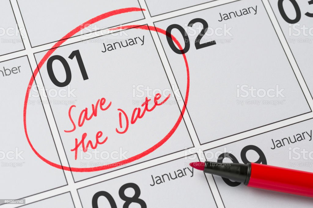 Save the Date written on a calendar - January 1 stock photo