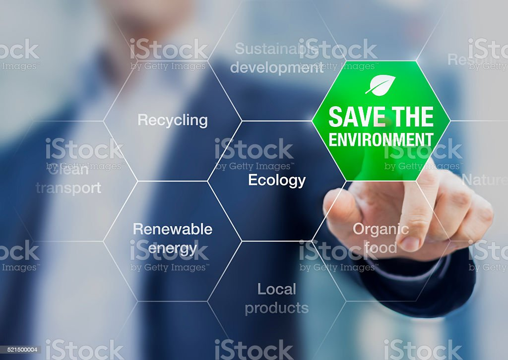Save the environment icon, climate change conference Save the environment icon touched by a businessman, climate change conference Adult Stock Photo