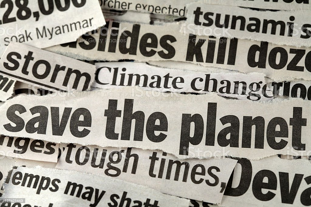 Save the planet newspaper strips royalty-free stock photo