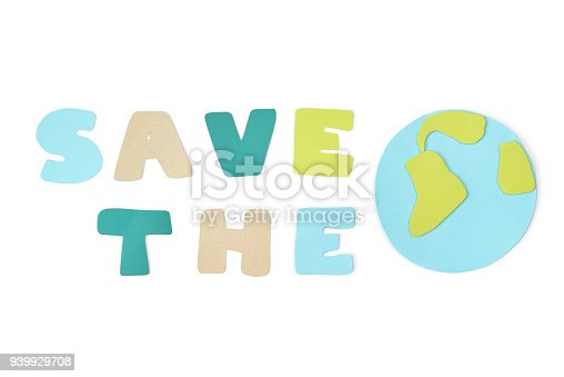 istock Save the world paper cut on white background 939929708