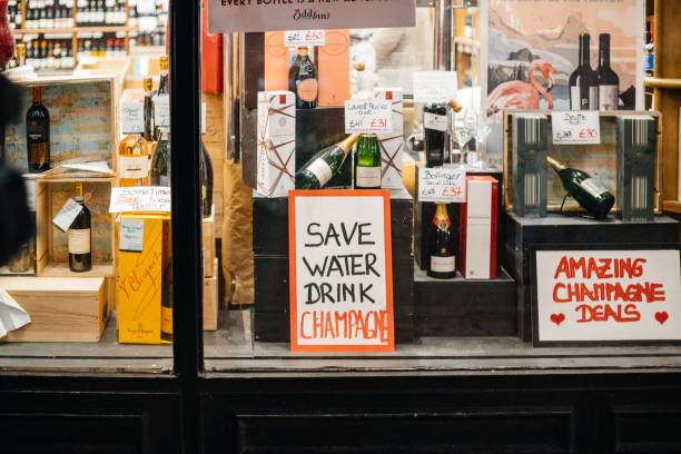 Save water drink champagne alcohol store in London United kingdom stock photo