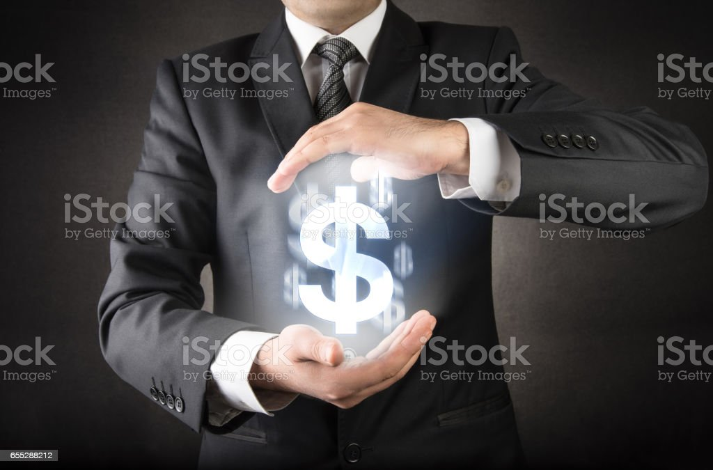 Save your dollar concept stock photo