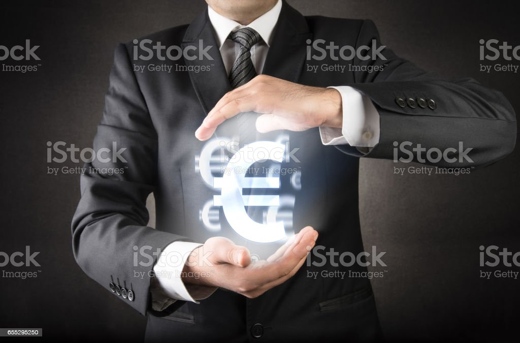 Save your Euro concept stock photo