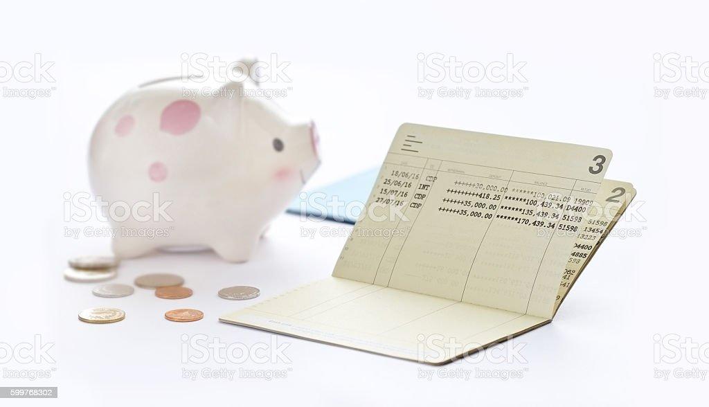Saving account passbook, book bank and piggy bank stock photo
