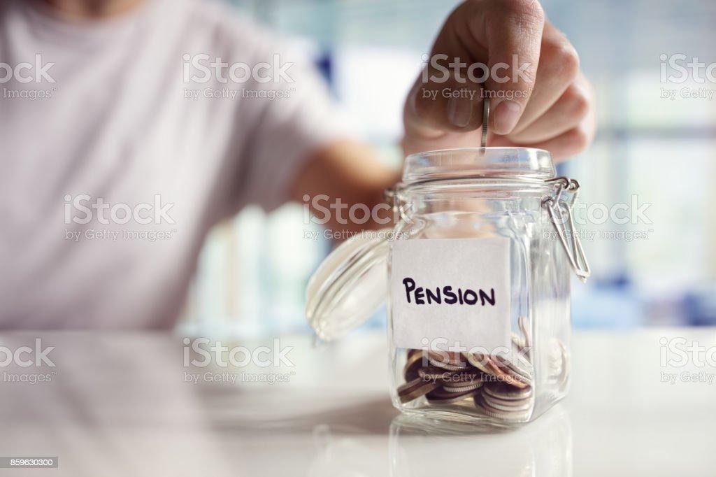 Saving and pension planning - Foto stock royalty-free di 1 centesimo americano