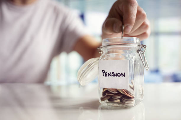 Saving and pension planning stock photo