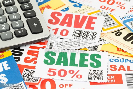 Saving discount coupon voucher with calculator, coupons are mock-up