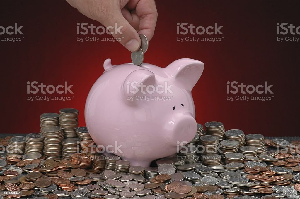 Saving Every Quarter, Nickel, Dime, & Penney royalty-free stock photo
