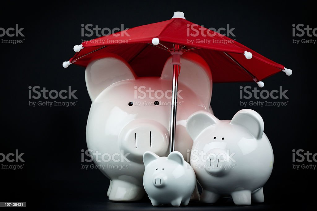 Saving for a Rainy Day - Family stock photo
