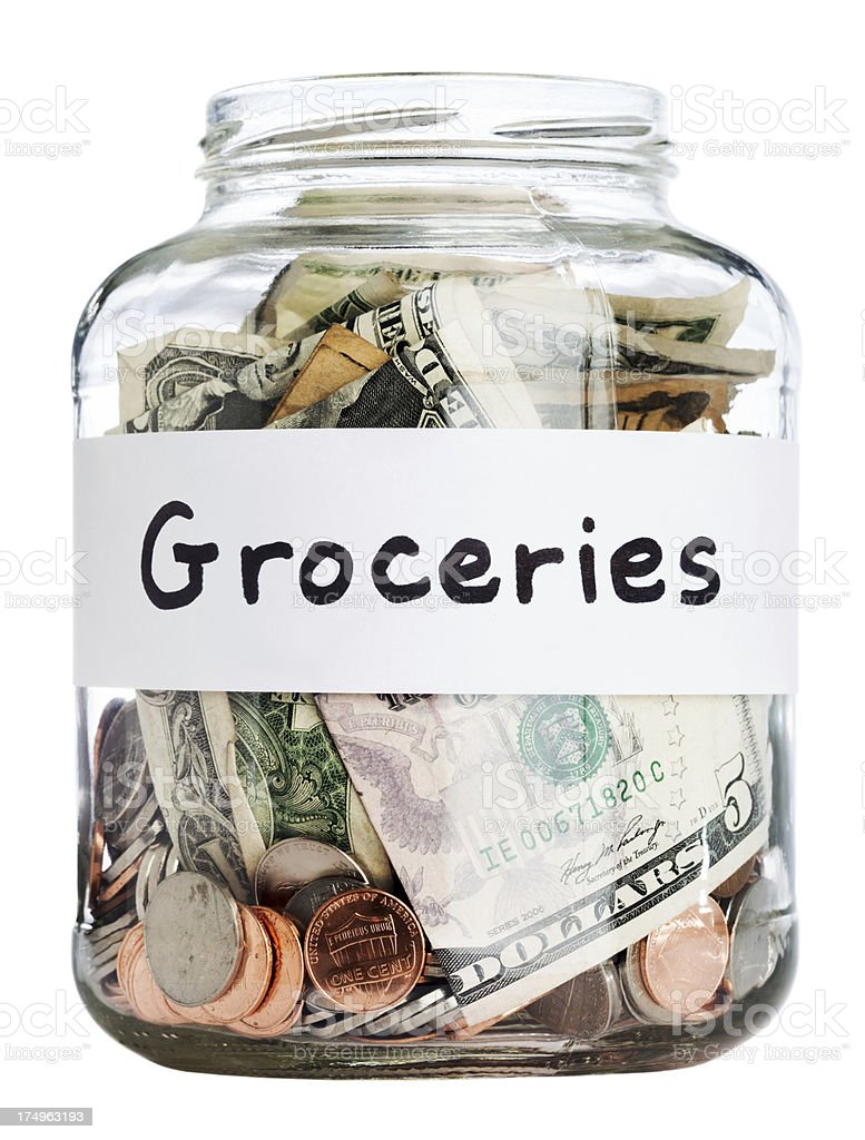 Saving for groceries - Clipping Path royalty-free stock photo