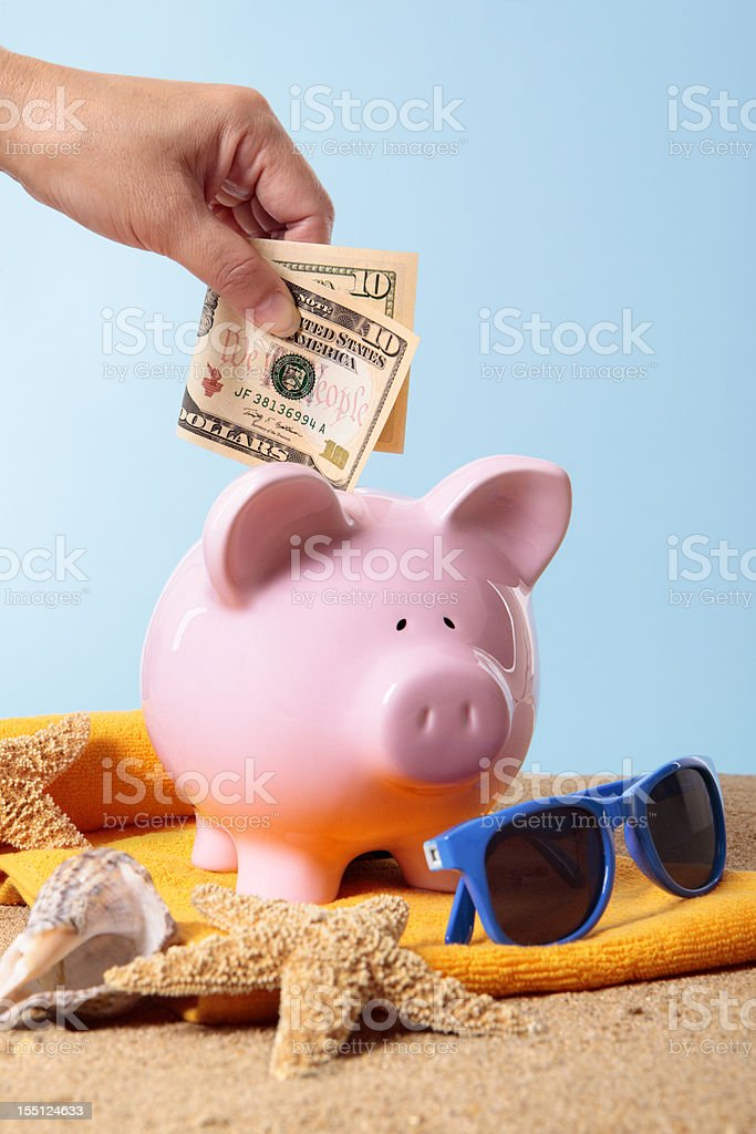 Saving for vacation or retirement stock photo