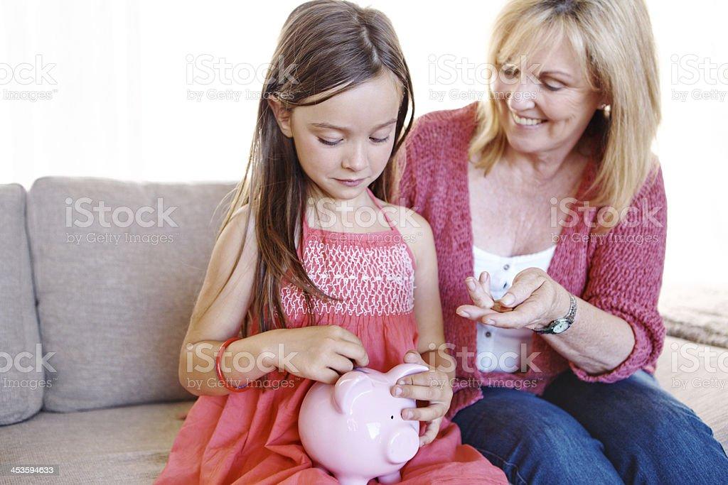 Saving her pocket money royalty-free stock photo