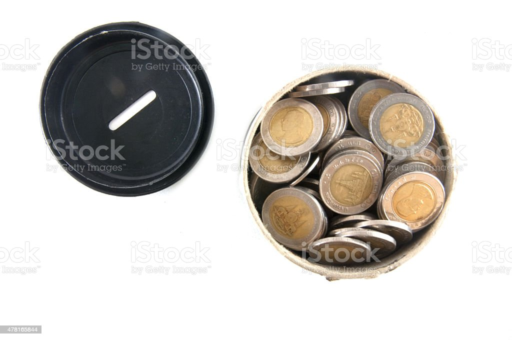 Saving in can bank stock photo