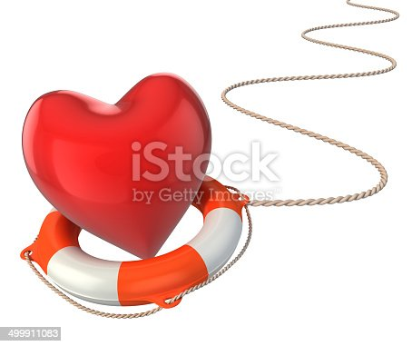 istock saving love marriage relationship 3d concept - heart on lifebuoy 499911083