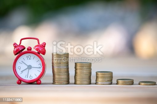 istock Saving money concept, coin stack growing business, save money for investment. 1133471990