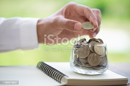 istock Saving money concept, coin stack growing business, save money for investment. 1160976507