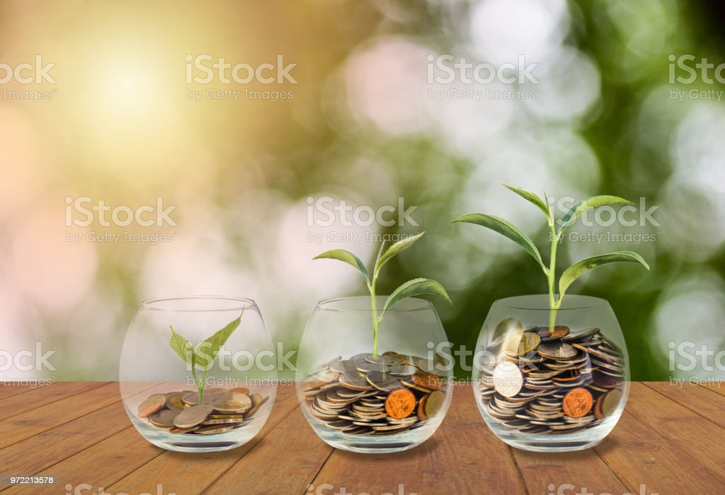 Saving money concept. Coins in glass jar. Investment money concept. Growing Money, finance and investment concept  background. Coins in three glass jar on wooden table with light and nature background - Foto stock royalty-free di Affari