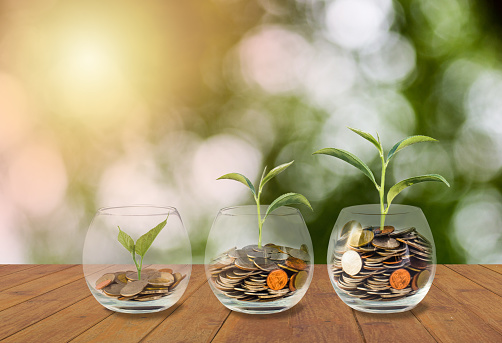 Saving Money Concept Coins In Glass Jar Investment Money Concept Growing Money Finance And Investment Concept Background Coins In Three Glass Jar On Wooden Table With Light And Nature Background - Fotografie stock e altre immagini di Affari