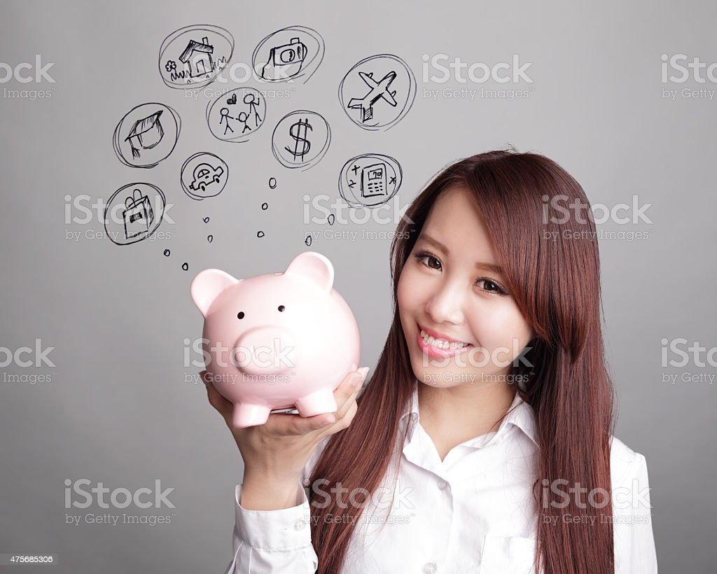 Saving money concept stock photo