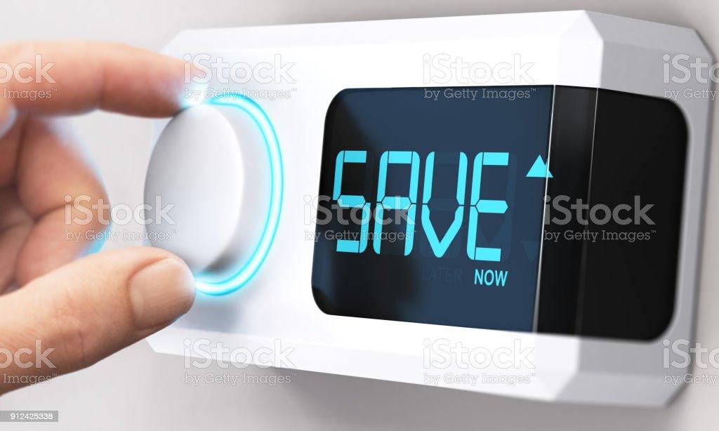 お金を節約。エネルギー消費量を減少します。 ロイヤリティフリーストックフォト
