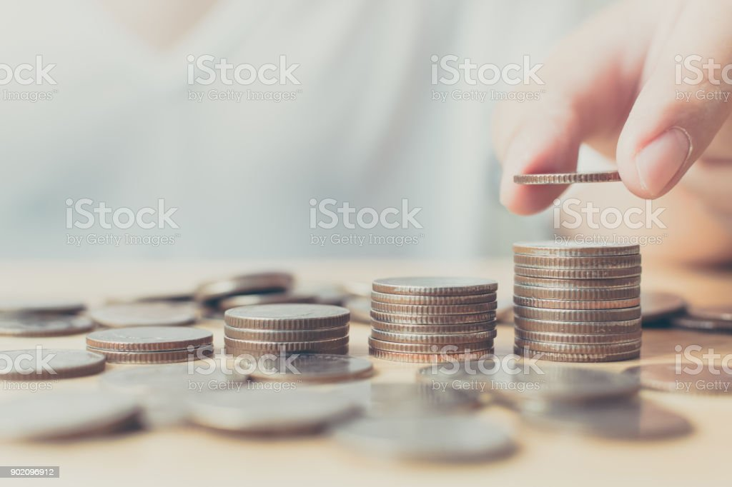 Saving money for investment concept, Hand of male or female putting coin stack step growing growth financial - foto stock