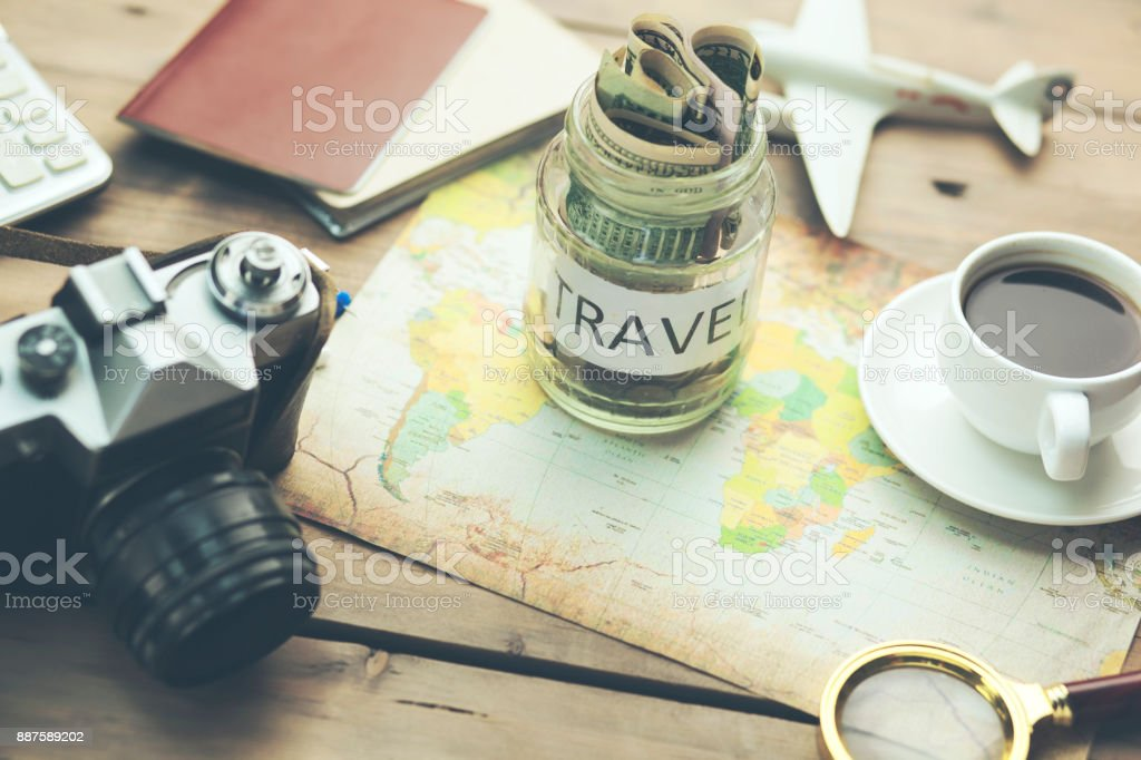 saving money for travel, for retirement plan stock photo