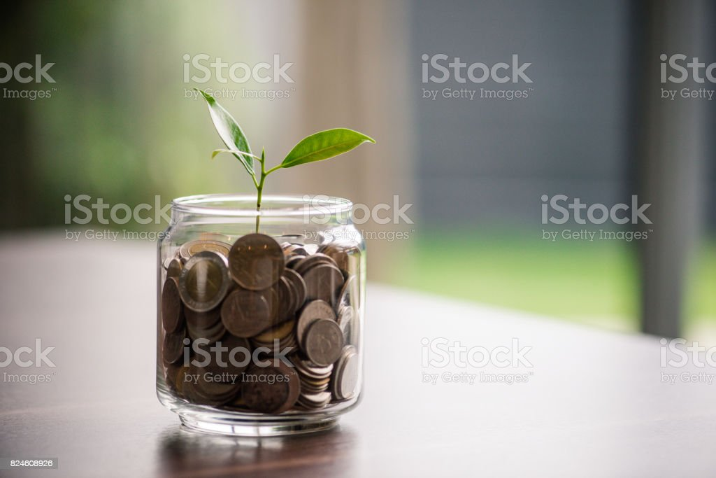 Saving money in future. finance and business man stock photo