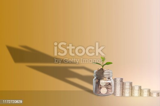 istock Saving money, mortgage, mortgage, real estate investment for the future Shadow the small residence of a coin in a bottle on the area. With orange background, financial concept 1172720829