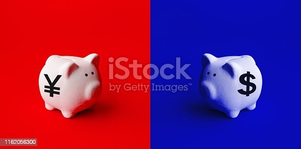 928696036 istock photo Saving money or financial investment concepts with piggy bank and dollar,yuan icon sign.business economic 1162056300