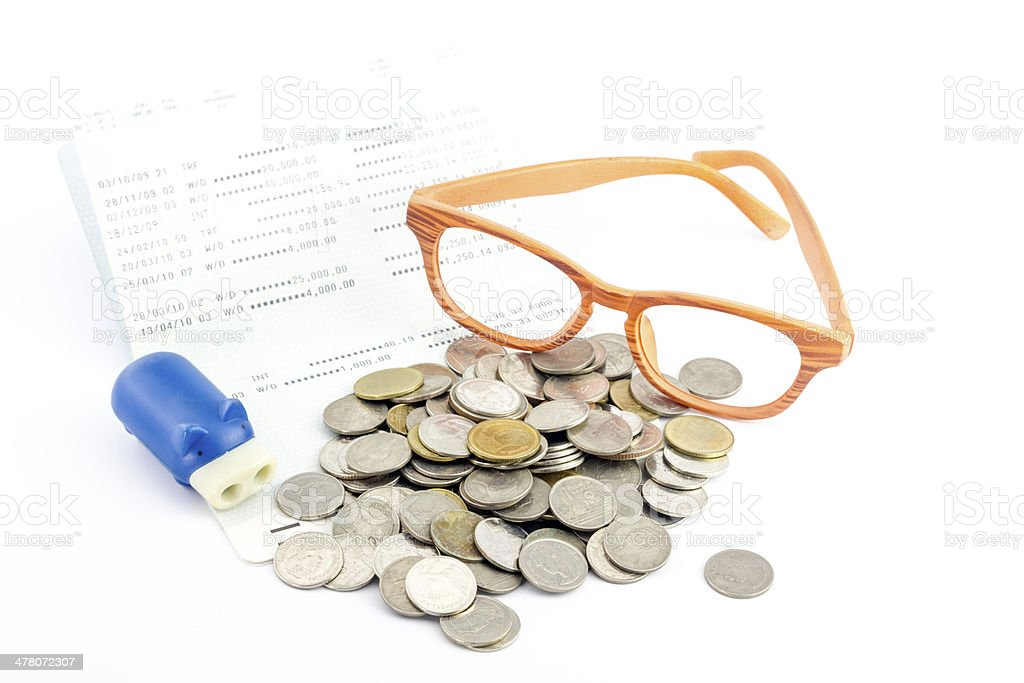 Saving money,account assbook and bluy pig bank royalty-free stock photo