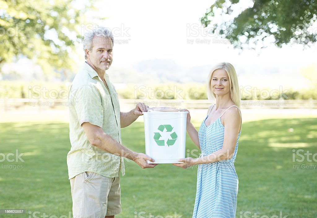 Saving the earth - one bottle at a time royalty-free stock photo