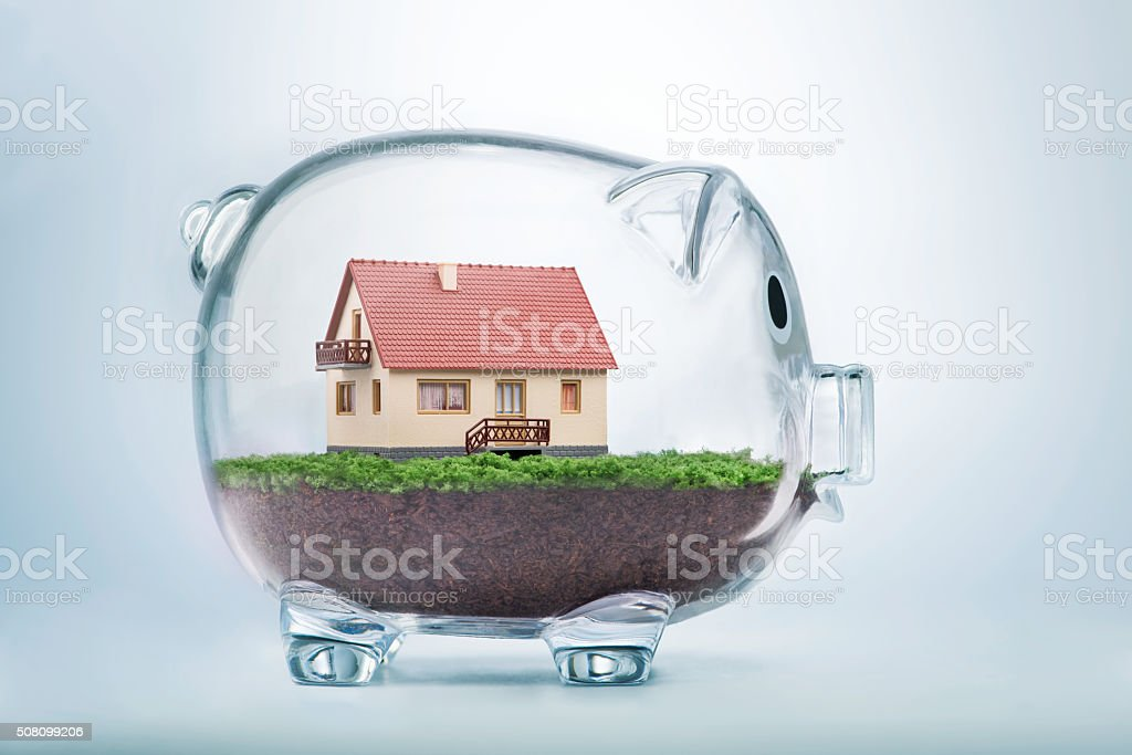 Saving to buy a house or home savings concept stock photo