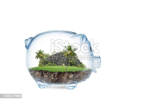 Saving to buy a land or land savings concept with grass growing in shape of land inside transparent piggy bank. isolated on White Background concept for property, mortgage and real estate investment.