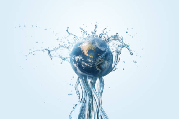 Saving water and world environmental protection concept. Saving water and world environmental protection concept. Eearth, globe, ecology, nature, planet concepts day stock pictures, royalty-free photos & images